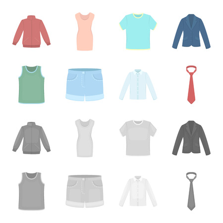 Clothing set collection icons in cartoon, monochrome style vector symbol stock illustration web.