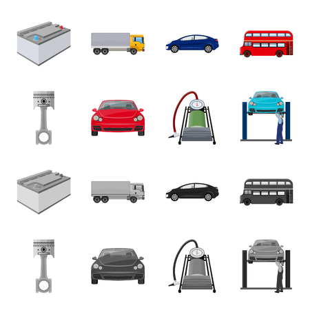 Car on lift, piston and pump cartoon,monochrome icons in set collection for design.Car maintenance station vector symbol stock illustration web.