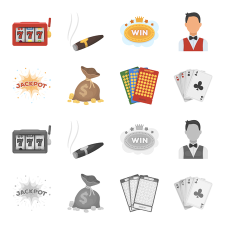 Jack sweat, a bag with money won, cards for playing Bingo, playing cards. Casino and gambling set collection icons in cartoon,monochrome style vector symbol stock illustration web.