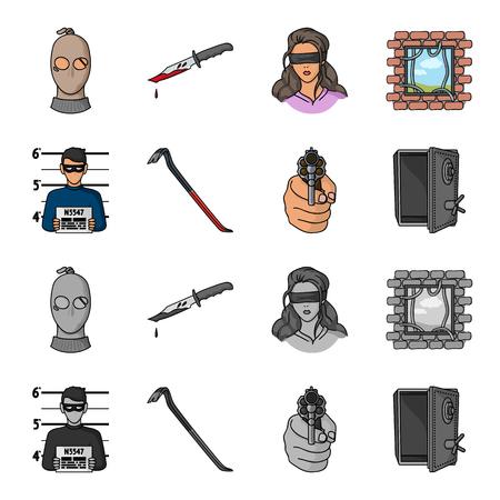 Photo of criminal, scrap, open safe, directional gun.Crime set collection icons in cartoon,monochrome style vector symbol stock illustration web.