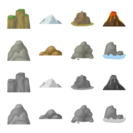 Boulders, a rounded mountain, rocks in the sea. Different mountains set collection icons in cartoon,monochrome style vector symbol stock illustration web.