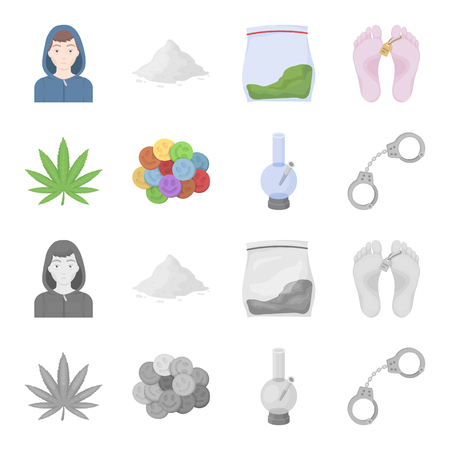 Drug set collection icons in cartoon, monochrome style vector symbol stock illustration web.