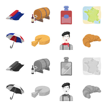 France country set collection icons in cartoon,monochrome style vector symbol stock illustration web.