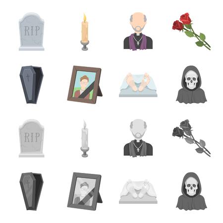 Sarg mit Deckel und Kreuz, ein Foto des Verstorbenen mit einem Trauerband, eine Leiche auf dem Tisch mit einem Etikett in der Leichenhalle, Tod in einer Kapuze. Begräbniszeremonie stellte Sammlungsikonen im Karikatur-, monochromen Artvektorsymbolvorrat-Illustrationsnetz ein.