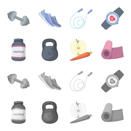 Protein, vitamins and other equipment for training.Gym and workout set collection icons in cartoon, monochrome style vector symbol stock illustration web. Stock Illustratie