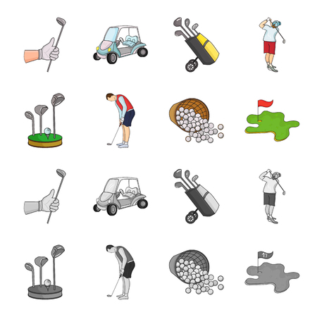 Golf Club set collection icons in cartoon, monochrome style vector symbol stock illustration web.
