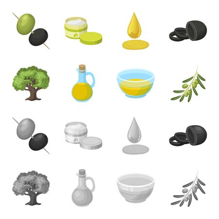 An olive tree, a branch with olives, a vessel and a jug of oil. Olives set collection icons in cartoon,monochrome style vector symbol stock illustration web. Illustration