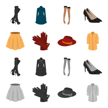 Skirt with folds, leather gloves, women hat with a bow, shirt on the fastener. Women clothing set collection icons in cartoon, monochrome style vector symbol stock illustration web.