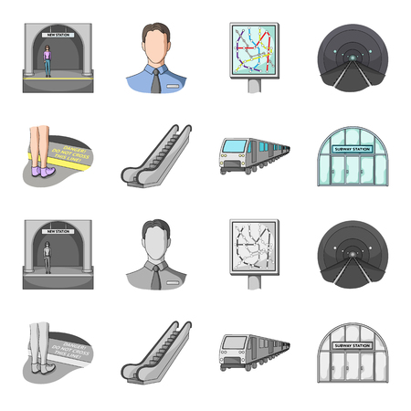 Public transportation machinery and other related icons in set collection.