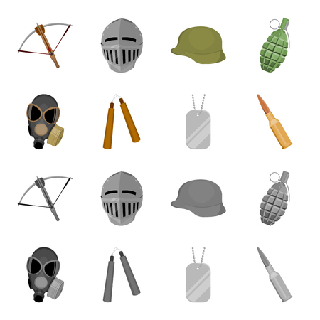Weapons set collection icons in cartoon style. Illustration