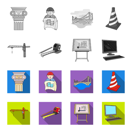 Architecture set collection icons in monochrome and colored illustration