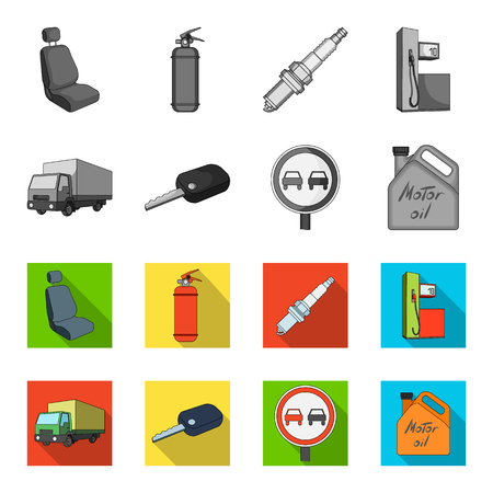 Vehicle and accessories set collection icons