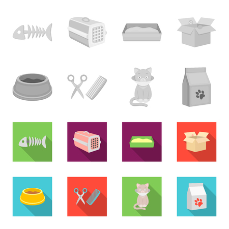 Cat accessories set collection icons 일러스트