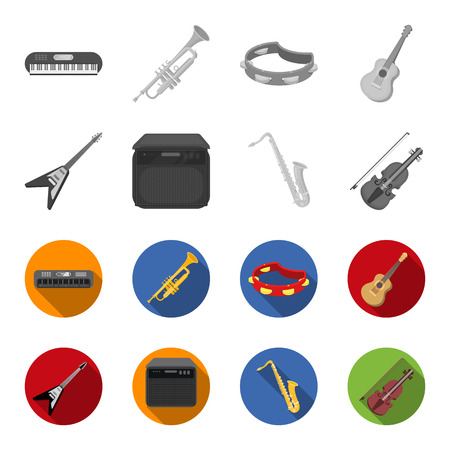 Musical instruments set collection icons Illustration