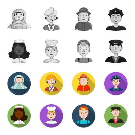 Personas de diferentes profesiones establecen iconos de colección