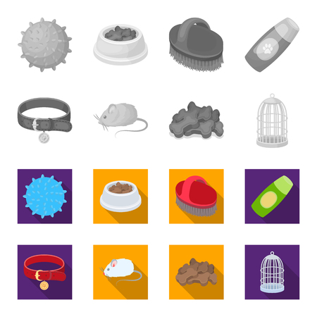 Pet accessories set collection icons