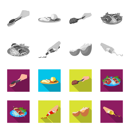 Shish kebab with vegetables, ketchup and mustard, seasoning for food, broken egg. Food and Cooking set collection icons in monochrome,flat style vector symbol stock illustration web.