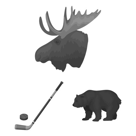 Country Canada monochrome icons in set collection for design. Canada and landmark vector symbol stock web illustration.