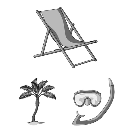 Summer rest monochrome icons in set collection for design. Beach accessory vector symbol stock illustration. Illustration