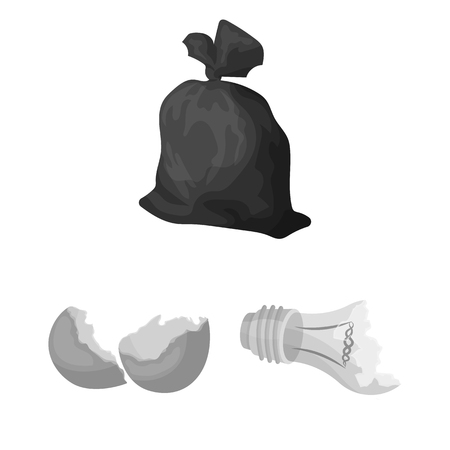Garbage and waste monochrome icons in set collection for design. Illustration