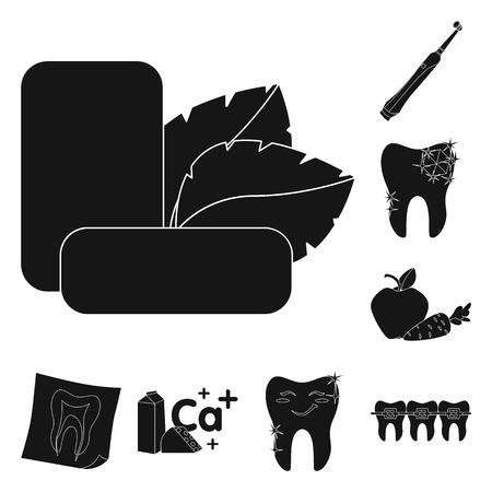Dental care black icons in set collection for design. Care of teeth vector symbol stock  illustration. Illustration
