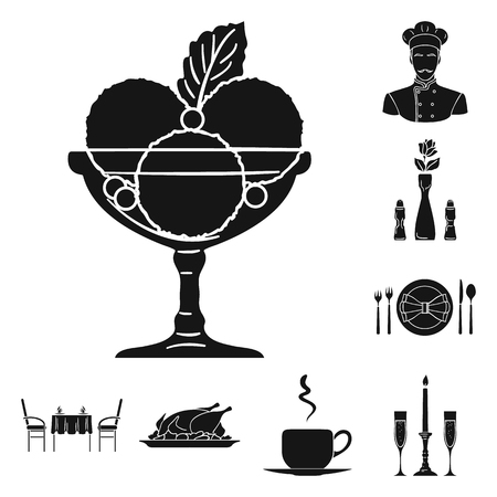 Restaurant and bar black icons in set collection for design. Pleasure, food and alcohol vector symbol stock  illustration.