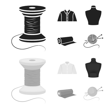 A man shirt, a mannequin, a roll of fabric, a ball of threads and knitting needles.Atelier set collection icons in black,monochrom style vector symbol stock illustration . Illustration