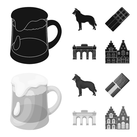 Chocolate, cathedral and other symbols of the country.Belgium set collection icons in black,monochrom style vector symbol stock illustration .