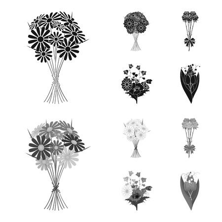 A bouquet of fresh flowers black,monochrome icons in set collection for design. Various bouquets vector symbol stock web illustration.