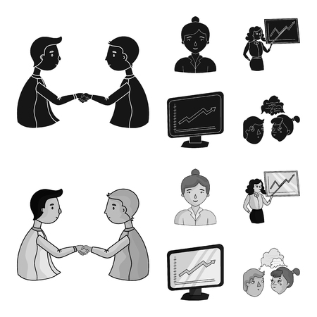 Businesswoman, growth charts, brainstorming.Business-conference and negotiations set collection icons in black,monochrom style vector symbol stock illustration .