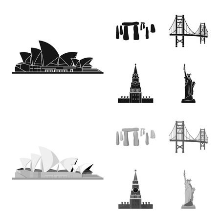 Sights of different countries black,monochrom icons in set collection for design. Famous building vector symbol stock  illustration.