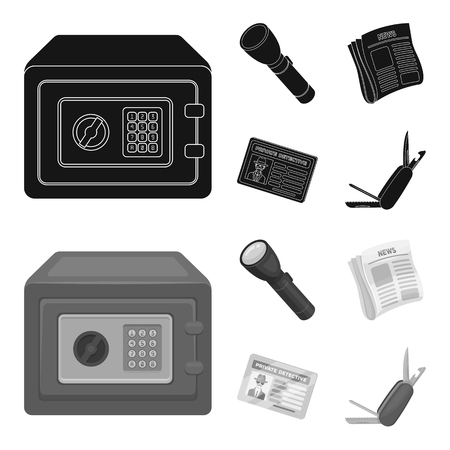 Flashlight, newspaper with news, certificate, folding knife.Detective set collection icons in black,monochrom style vector symbol stock illustration .