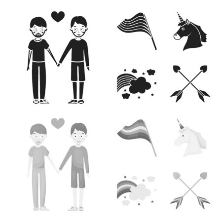 Flag, unicorn symbol, arrows with heart. Gay set collection icons in black, monochrome style vector symbol stock illustration