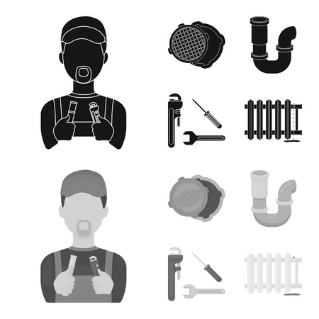 Plumbing set collection icons in black, monochrome style vector symbol stock illustration.