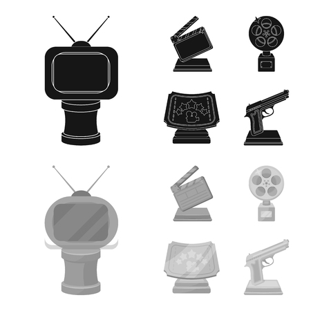 Gold pistol, silver prize for the best supporting role and other prizes. Movie awards set collection icons in black, monochrome style vector symbol stock illustration