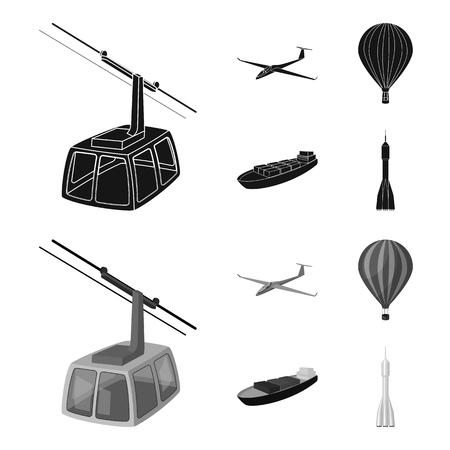 Transport set icônes de collection en noir, monochrome style vecteur symbole stock illustration web Banque d'images - 98274739