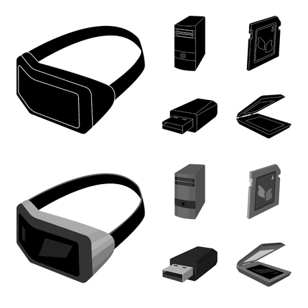 A system unit, a flash drive, a scanner and a SD card. Personal computer set collection icons in black,monochrome style vector symbol stock illustration web. Иллюстрация
