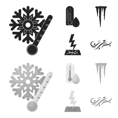 Humidity, icicles, thunderbolt, windy weather. Weather set collection icons in black,monochrome style vector symbol stock illustration web.
