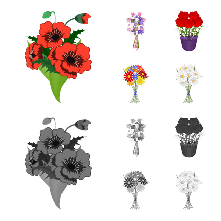 A bouquet of fresh flowers cartoon,monochrome icons in set collection for design. Various bouquets vector symbol stock web illustration. Illustration