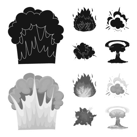 Explosions set collection icons in black,monochrome style vector symbol stock illustration web.