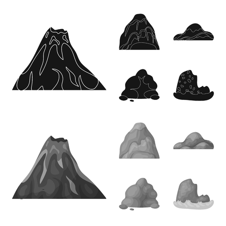 Boulders, a rounded mountain, rocks in the sea. Different mountains set collection icons in black,monochrome style vector symbol stock illustration web.