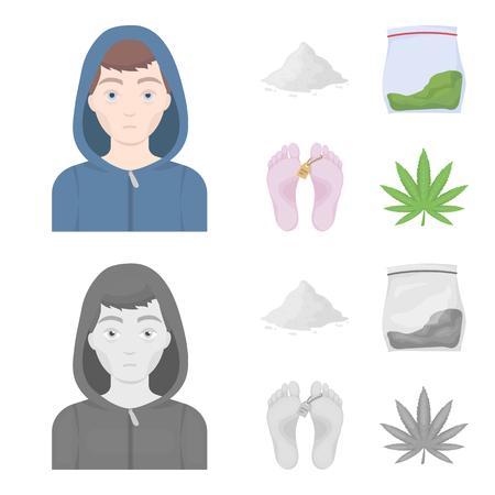 Addict, cocaine, marijuana, corpse.Drug set collection icons in cartoon,monochrome style vector symbol stock illustration web.