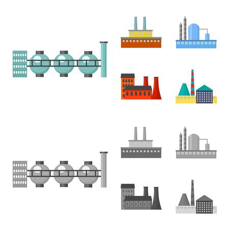 Factory set collection icons in cartoon,monochrome style vector symbol stock illustration web. Ilustracja