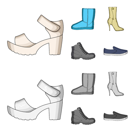 A set of icons on a variety of shoes.Different shoes single icon in cartoon,monochrome style vector web symbol stock illustration.