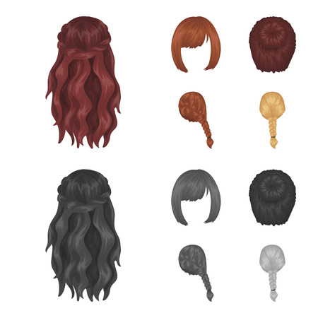 Back and other hairstyle set collection icons in cartoon,monochrome style vector symbol stock illustration web.