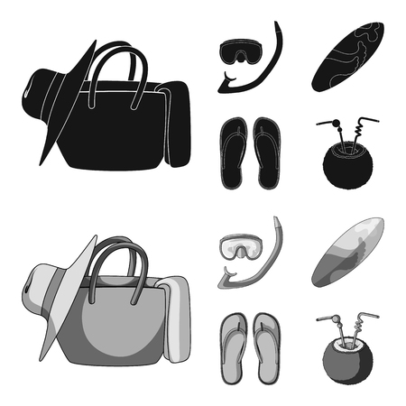 Diving, surfing, cocktail.Summer vacation set collection icons in black,monochrome style vector symbol stock illustration web.