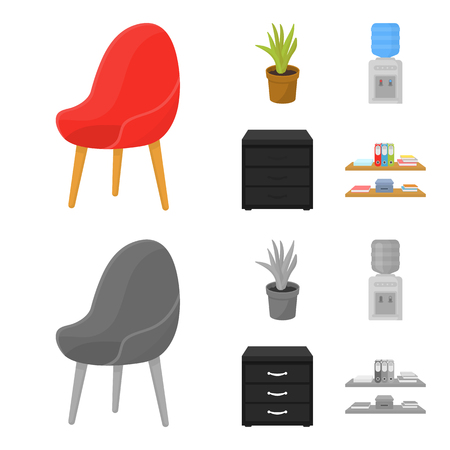 A red chair with a comfortable back, an aloe flower in a pot, an apparatus with clean water, a cabinet for office papers. Office Furniture set collection icons in cartoon,monochrome style vector symbol stock illustration web. 向量圖像