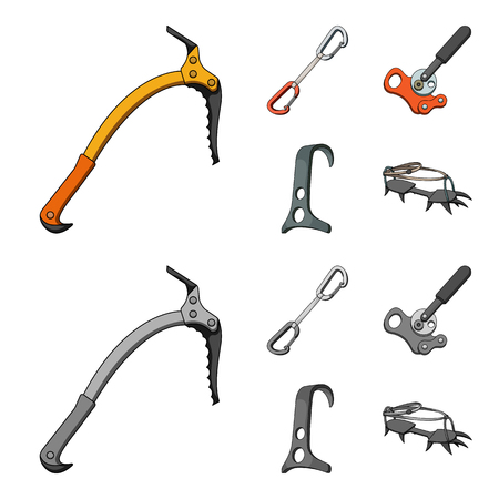 An ice ax, a carbine and other equipment.Mountaineering set collection icons in cartoon,monochrome style vector symbol stock illustration web.
