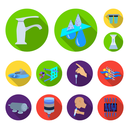 Water filtration system flat icons in set collection for design. Stock Vector - 98287385