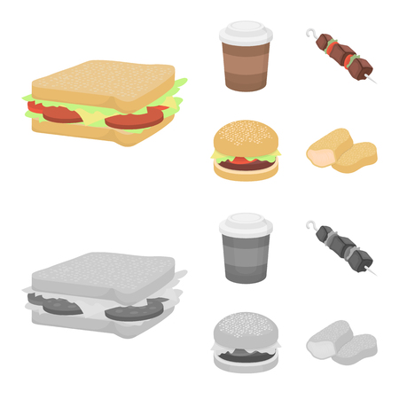 Fast food set collection icons in cartoon,monochrome style vector symbol stock illustration web.